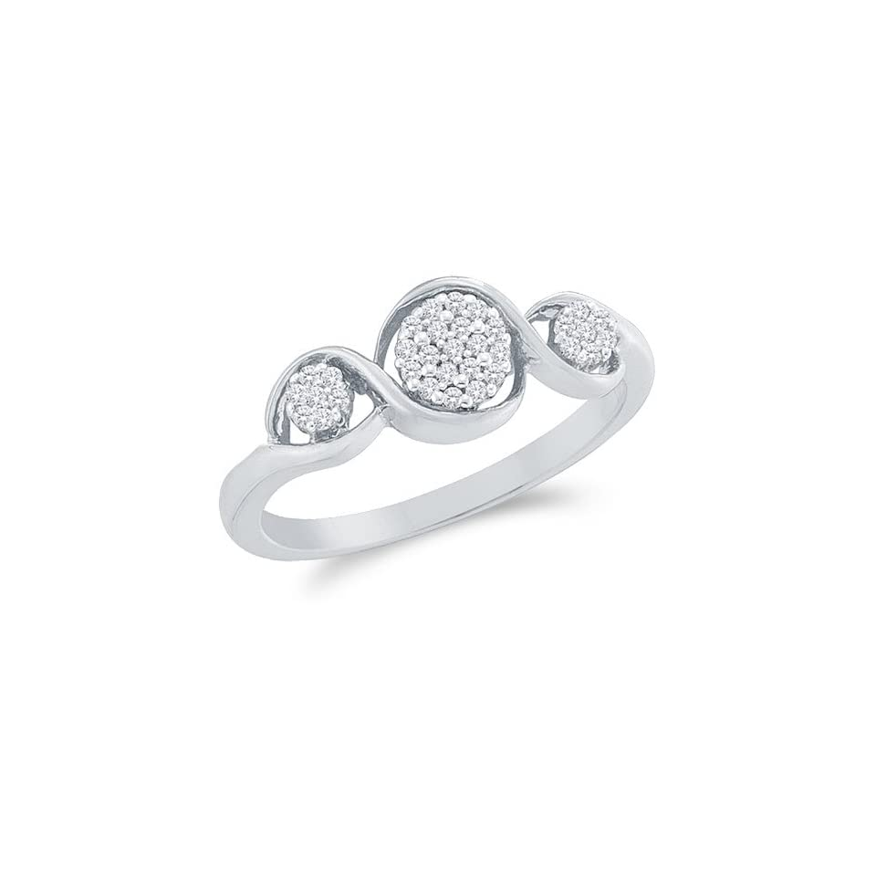 Size 4   10k White Gold Diamond Three 3 Stone Style Engagement OR Fashion Right Hand Ring Band   Flower Shape Center Setting w/ Micro Pave Set Round Diamonds   (1/8 cttw)