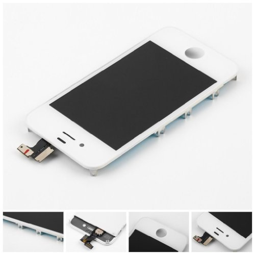 Flylinktech® For Apple Iphone 4 4G Screen Glass Replacement Digitizer With Frame + Lcd Assembly + Tool Kit (White(Fits Cdma/Verizon/Sprint))