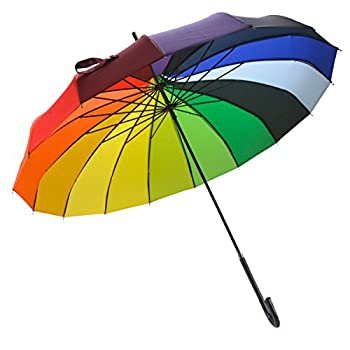 OUTGEEK Rainbow Umbrella Pagoda Long Handle Vintage Windproof Umbrella Parasol