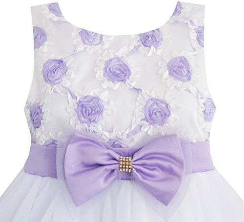 EE45 Sunny Fashion Big Girls' Dress Purple Flower White Tulle Pleated Wedding 9-10