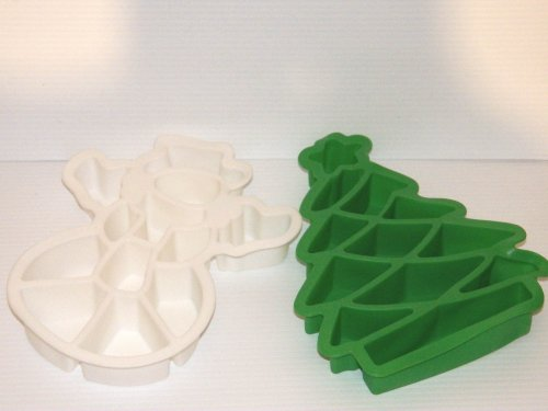 2 Piece Set Holiday Christmas Tree and Snowman Pull Apart Take Apart Silicone Cake Baking Pans. Looks Like One Cake.