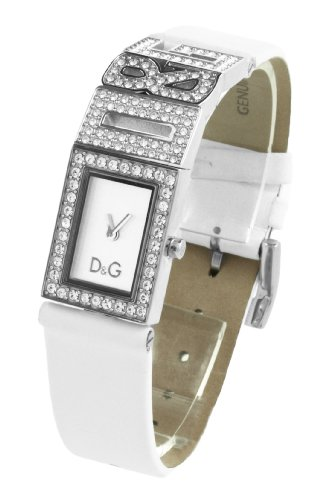 D & G Ladies Shout Quartz Watch DW0506 with Silver Analogue Dial, Stainless Steel Case With Stones and White Leather Strap