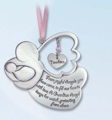 "Pretty GUARDIAN ANGEL Baby GIRL Crib Medal 4"" PEWTER Medal/CHRISTENING/SHOWER GIFT/Baptism KEEPSAKE/with PINK RIBBON/GIFT BOXED/INFANT - Newborn"
