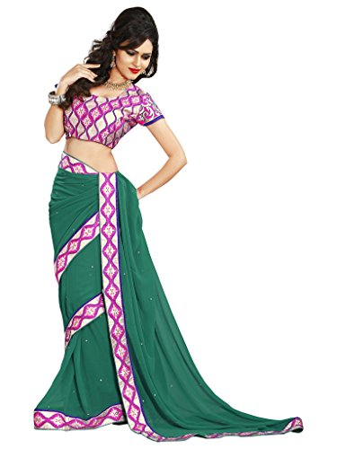 Alethia Green & Pink Chiffon Casual Embroidered Sarees With Unstitched Blouse