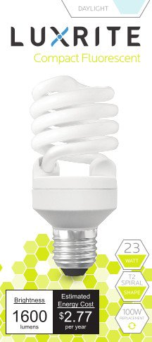 Luxrite LR20200 (6-Pack) 23-Watt CFL T2 Mini Spiral Light Bulb, Equivalent To 100W Incandescent, Day Light 6500K, 1600 Lumens, E26 Standard Base, UL-Listed (Cfl Pack compare prices)