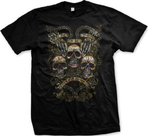 El Dia De Los Muertos Mens Tattoo T-Shirt, Painted Sugar Skulls, Wings, Chains Old School Tattoo Mens Tee, Large, Black