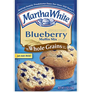 Martha White, Whole Grains, Blueberry Muffin Mix, 7oz Pouch (Pack of 4)