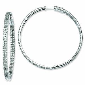 Sterling Silver 2.1 inch diameter CZ Hoop Earrings