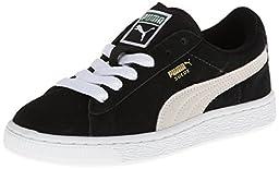 PUMA Suede Junior Sneaker (Little Kid/Big Kid) , Black/White, 12.5 M US Little Kid
