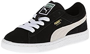 PUMA Suede Junior Sneaker (Little Kid/Big Kid),Black/White,5 M US Big Kid