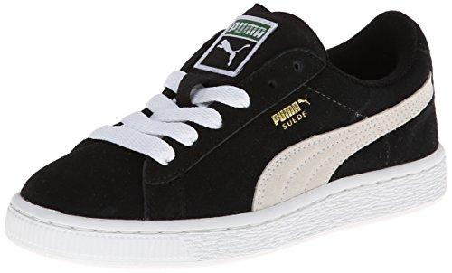 PUMA Suede Junior Sneaker (Little Kid/Big Kid) , Black/White, 5 M US Big Kid (Big Boys Shoes Size 5 compare prices)