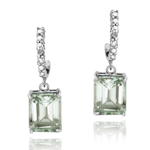 Sterling Silver 4ct Green Amethyst & Diamond Accent Rectangle Dangle Earrings