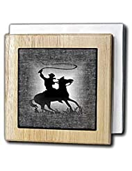 Florene Country Life - Image of Cowboy on horse on black denim fabric - Tile Napkin Holders - 6 inch tile napkin holder by 3dRose
