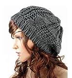 SunHouse New Winter fashion Women Beret Braided Baggy Beanie Crochet Knitted Hat Cap (Dark Gray)