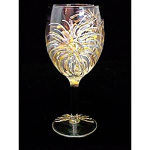 Fireworks Design Hand Painted Grande Wine Glass