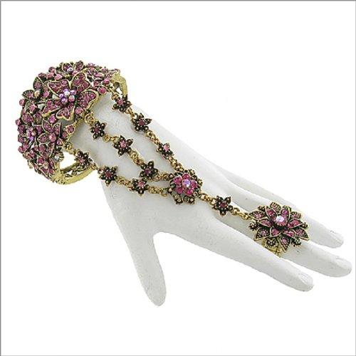 Stone Floral Design Ring & Bracelet #041788