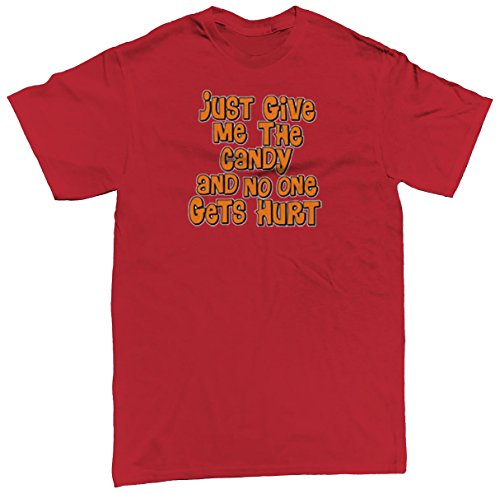 Give Me The Candy And No One Gets Hurt Men's T-shirt, SpiritForged Apparel, Red Small (Spirit Halloween Sf)