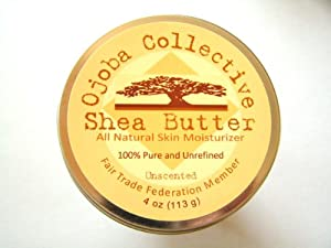Ojoba Collective Raw, Unrefined Shea Butter: Fresh & Creamy - Naturally Nourishing Skin Cream 100% Fair Trade from Ghana (4 oz/113g) Unscented