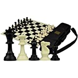 Tournament Roll-Up Staunton Chess Set w/ Travel Canvas Bag - Black