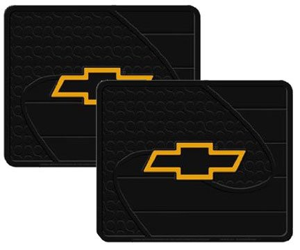 2 Utility Rubber Floor Mats - Chevy Bow Tie