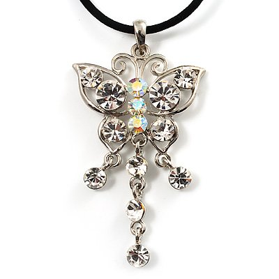 AB Crystal Butterfly Velour Cord Choker Necklace (Silver Tone)