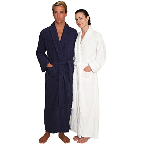 NDK New York Full Length Terry Cloth Bathrobe for Men and Women 100% Cotton