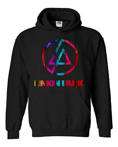 """Felpa Unisex """"Linkin Park"""" - Multicolor - Felpa con cappuccio rock band LaMAGLIERIA, M, Nero"""