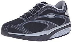 MBT Womens Afiya 5S Walking Shoe, Black/Silver/Steel, 41 EU/10-10.5 M US