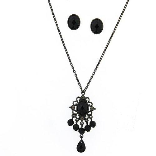 Vintage Jet Black Necklace & Earring Set