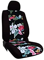 Shear Comfort Custom GMC Terrain Seat Covers - REAR SEAT SET: 60/40 Split Back w/ Pullout Arm and Headrests and Seatbelt in Backrest (2010-2013) - Neo-Sport Black w/ Floral Black - Made in the USA