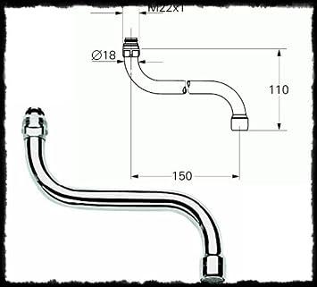 GROHE Rohrauslauf COSTA für Küchen-Wandbatterien chrom ...
