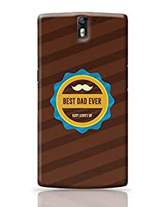 Posterguy Case Best Dad Ever With Moustache Case Cover For Oneplus One (Brown)