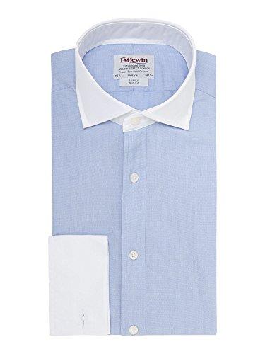 tmlewin-chemise-casual-uni-col-chemise-italien-manches-longues-homme-bleu-bleu