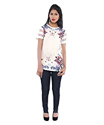 Avakasa Polyester White Floral Partywear Half Sleeves Top (top-01-cream)
