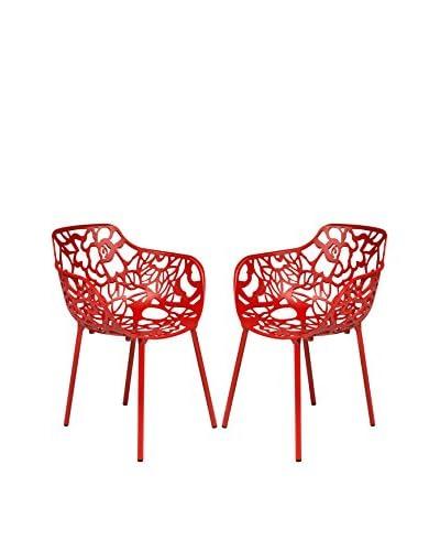 LeisureMod Set of 2 Modern Devon Aluminum Armchairs, Red