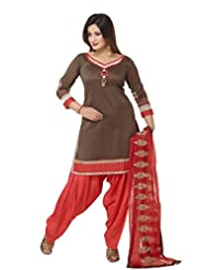 Ritu Creation Women's New Silk Stitched Patyala Suit With Sleeve&Dupatta Work