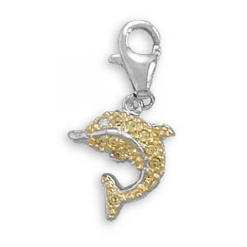 MMA Silver - Rhodium and 14 Karat Gold Plated Dolphin Charm