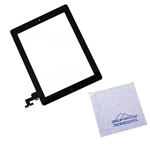 Group Vertical - For New Black Ipad 2 Digitizer Touch Screen Front Glass Assembly - Includes Home Button + Camera Holder + Preinstalled Adhesive
