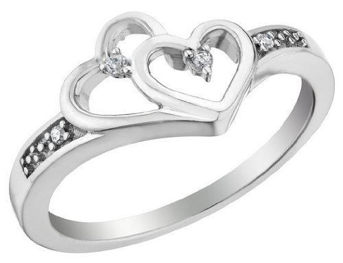 Diamond Double Heart Promise Ring in Sterling Silver, Size 7