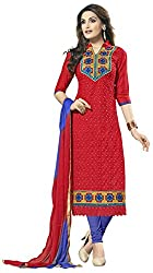 AAINA Women's Cotton Silk Unstitched Dress Material (Red)