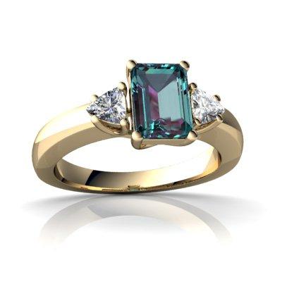 Created Alexandrite 14ct Yellow Gold Ring