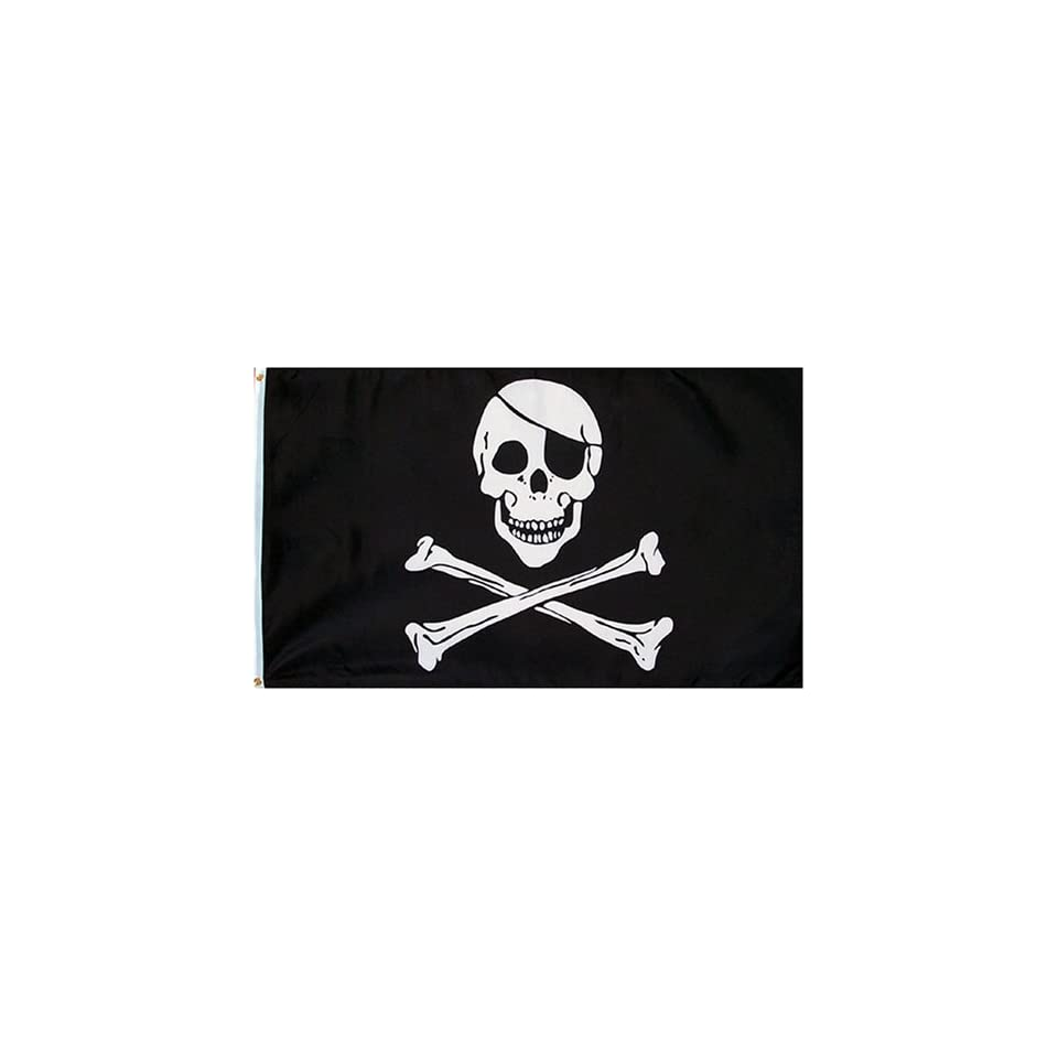 Pirate (JOLLY ROGER WITH PATCH) Flag   3 foot by 5 foot Polyester