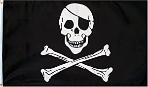 Pirate (JOLLY ROGER WITH PATCH) Flag - 3 foot by 5 foot Polyester