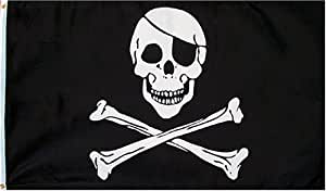 1 X Pirate (JOLLY ROGER WITH PATCH) Flag - 3 foot by 5 foot Polyester