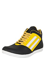 Zovi Men's Synthetic Black Textured High-ankle Casual Shoes With Yellow Highlights (10835008401)