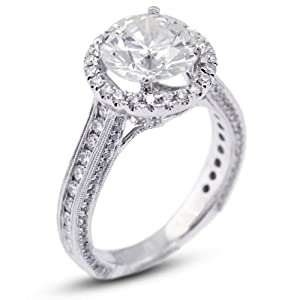 4.39 CT V.Good Cut Round F-VS2 GIA Certified Diamond 18k Gold Engagement Ring with Milgrains 5.74gr