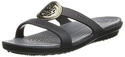 crocs Womens Women\'s Sanrah Circle Sandal,Black/Charcoal,8 M US