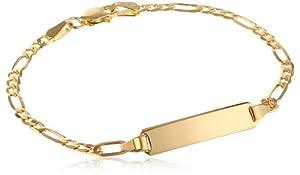 "14k Yellow Gold Figaro Baby ID Bracelet, 6"""