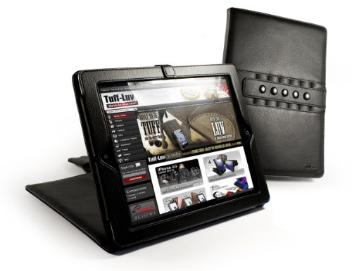 Tuff-Luv Multi-View Stasis Series: Veggie Leather Folio Book Style case cover for Apple iPad 2 - Black