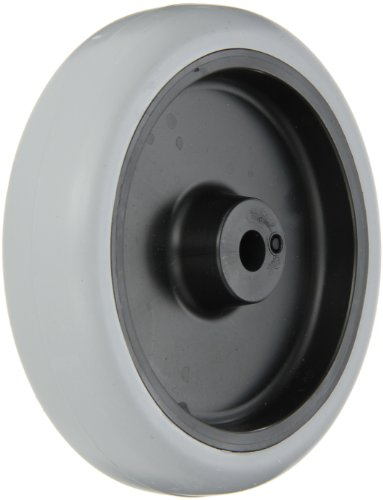 "Shepherd 007274 Regent/Monarch 4"" Diameter x 15/16"" Width Thermoplastic Urethane Wheel with Plain Bearing, 150 lbs Capacity, Gray on Black - 1"